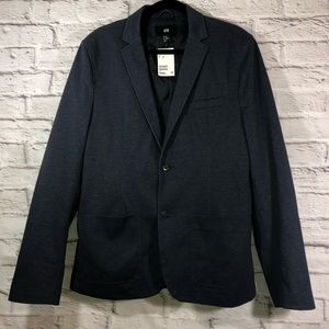 H&M Blazer Navy Tailored Elbow Patches Size 44R